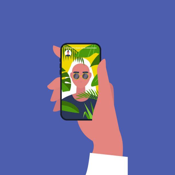 illustrazioni stock, clip art, cartoni animati e icone di tendenza di social media content. travel. tropical plants. a portrait of young female character on vacation. flat editable vector illustration, clip art - woman portrait forest