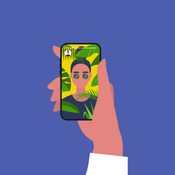 illustrazioni stock, clip art, cartoni animati e icone di tendenza di contenuti dei social media. viaggio. piante tropicali. un ritratto di giovane personaggio femminile in vacanza. illustrazione vettoriale modificabile piatta, clipart - woman portrait forest