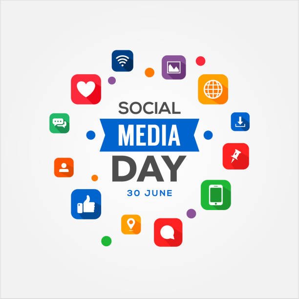 social media day vector design vorlage - social media icons stock-grafiken, -clipart, -cartoons und -symbole