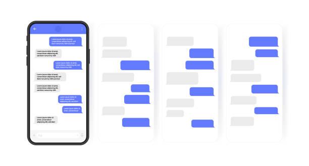 концепция дизайна социальных сетей. смартфон с экраном чата в стиле карусели. sms шаблон пузыри для составления диалогов. современный вектор - сообщение stock illustrations