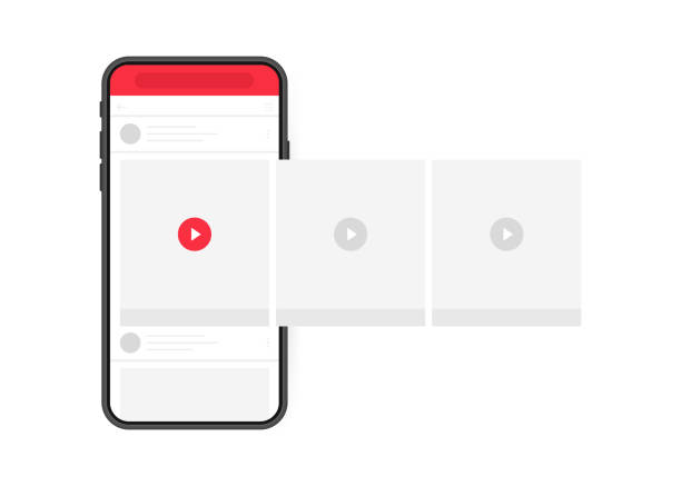 social media design concept. smartphone video player with interface carousel on social network. modern flat style vector illustration - лекало stock illustrations