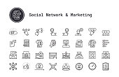 Survey, feedback, rating and review thin line icons. Social media marketing, people community, blogging symbols. Modern linear illustration concept for social networks, web and mobile app. Content making, social marketing, seo, checklist, quiz, emotional opinion, star review vector icons collection.
