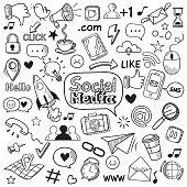Social media doodle. Internet website doodles, social network communication and online web hand drawn symbols. Smartphone media communications doodle sketch vector isolated icons set