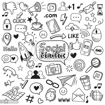 Social media doodle. Internet website doodles, social network communication and online web hand drawn symbols. Smartphone media communications doodle sketch vector isolated icons set