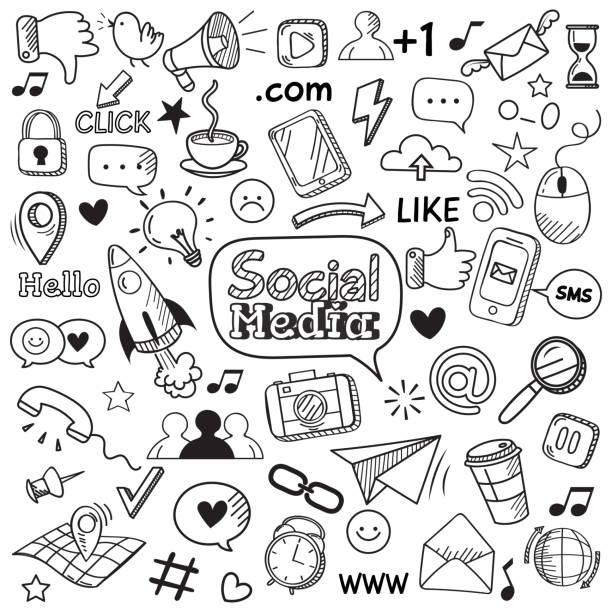 doodle w mediach społecznościowych. strona internetowa doodles, komunikacji sieci społecznej i online strony ręcznie rysowane ikony wektora zestaw - grupa przedmiotów stock illustrations