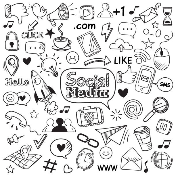 social media doodle. internet website doodles, social network communication and online web hand drawn vector icons set - doodles stock illustrations