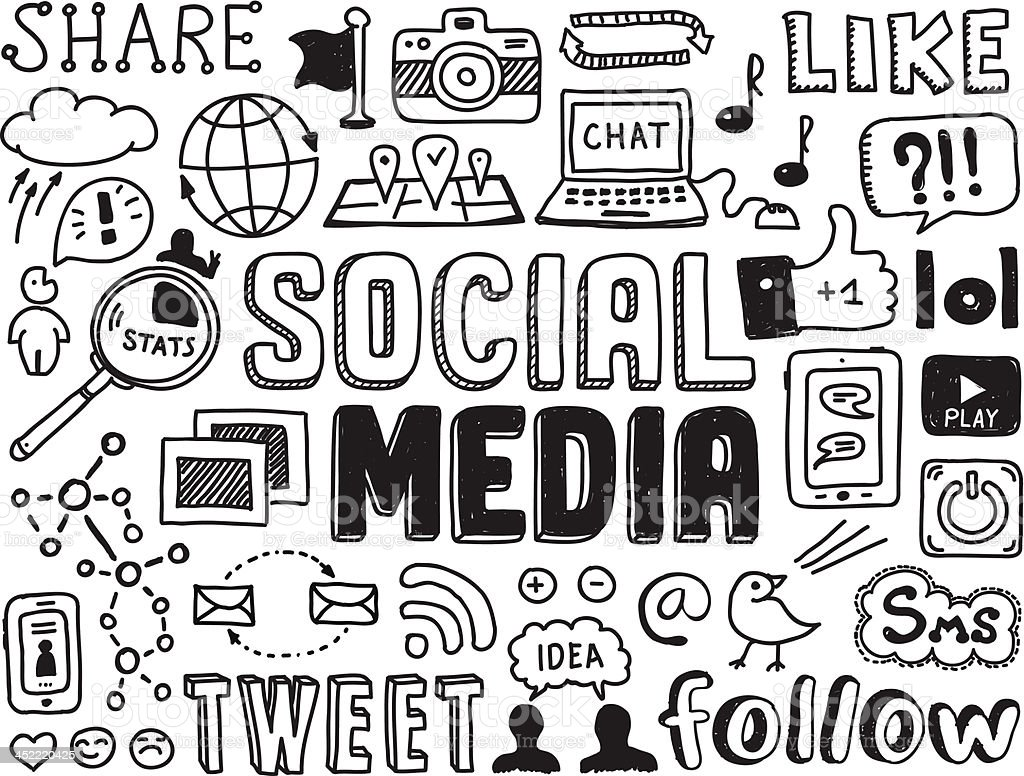 Social media doodles elements vector art illustration