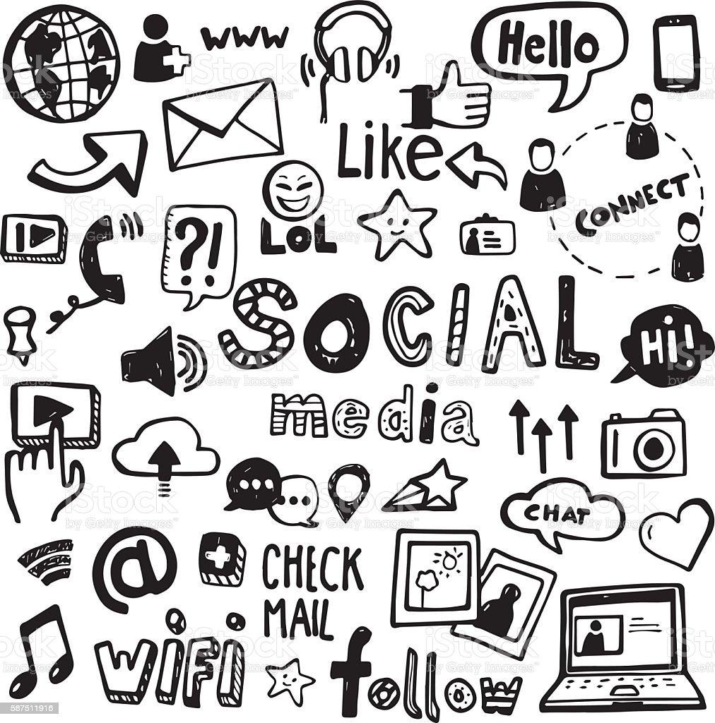 Mídia Social e Rabiscos - ilustração de arte em vetor