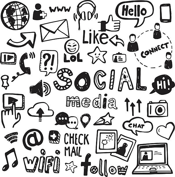 Social Media Doodles Set of vector doodles - can be used to illustrate social media, connectivity, online activities, technology. community drawings stock illustrations