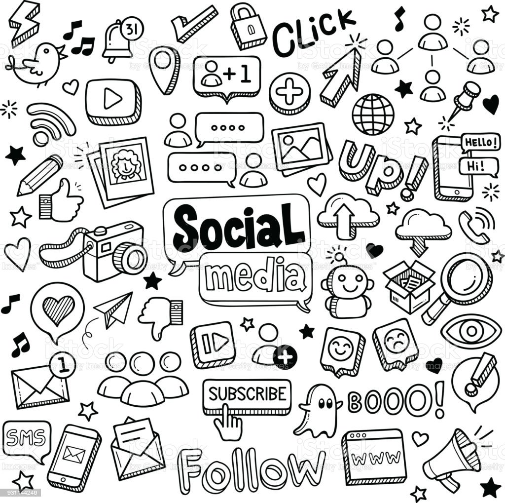 Social Media und Kritzeleien Lizenzfreies social media und kritzeleien stock vektor art und mehr bilder von abstrakt