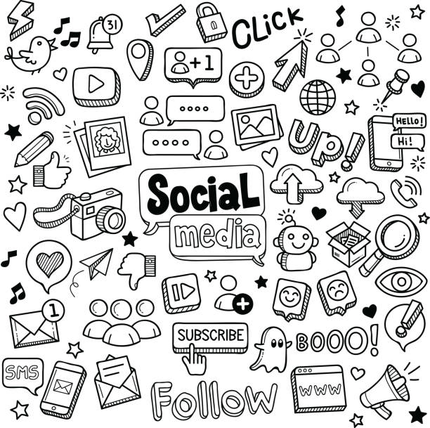 illustrazioni stock, clip art, cartoni animati e icone di tendenza di social media doodles - social media