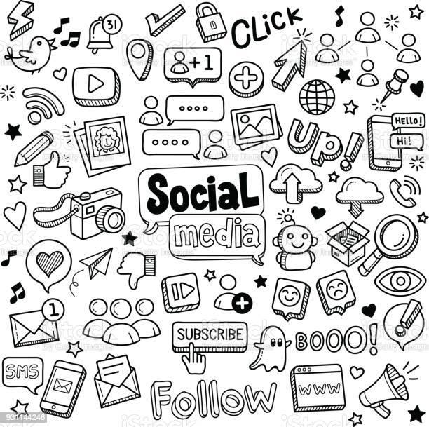 Sociala Medier Doodles-vektorgrafik och fler bilder på Abstrakt