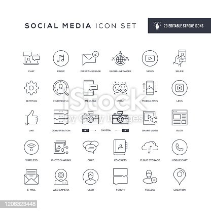 29 Social Media Icons - Editable Stroke - Easy to edit and customize - You can easily customize the stroke with