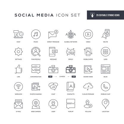 Social Media Editable Stroke Line Icons