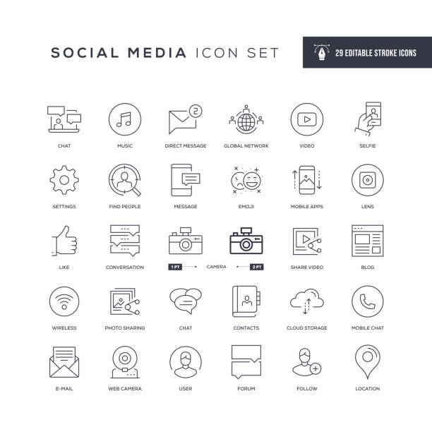 Social Media Editable Stroke Line Icons 29 Social Media Icons - Editable Stroke - Easy to edit and customize - You can easily customize the stroke with following moving activity stock illustrations