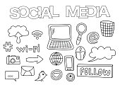 Social media elements hand drawn set.