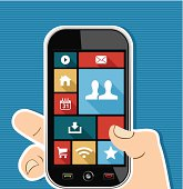 Social media elements human hand holds a smart phone UI applications graphic user interface flat icons set. EPS10 vector file organized in layers foreasy editing.