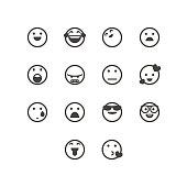 Vector illustration of a set of cute and line art social media emoticons