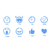 Vector illustration of a set of social media emoticons for design projects, web pages and any project related to social media and lifestyles