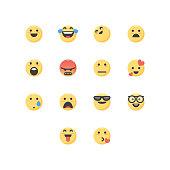 Vector illustration of a set of social media essential emoticons