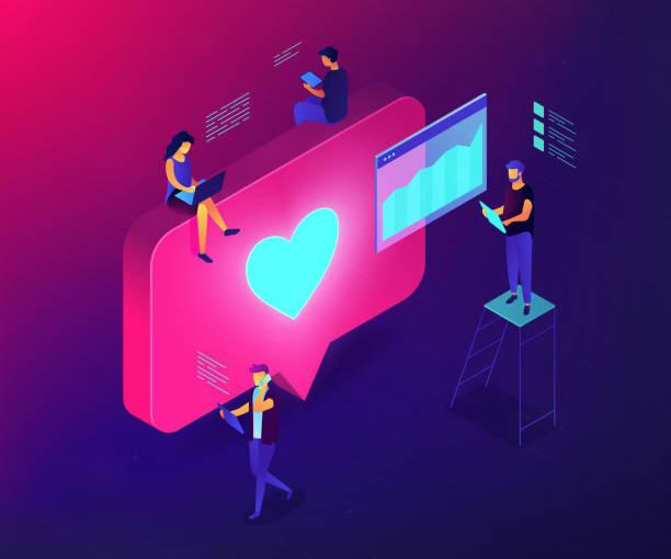 Social media engagement isometric 3D concept illustration. Social media specialists and analyst work with tablets and laptops and like. Social media engagement, in-platform messaging, SMM campaign concept. Ultraviolet neon vector isometric 3D illustration. digital marketing stock illustrations
