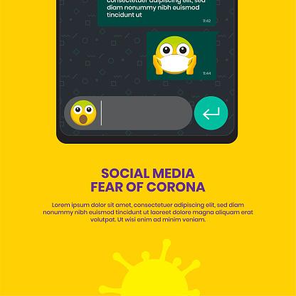 Social Media Fear of Corona Virus Illustration