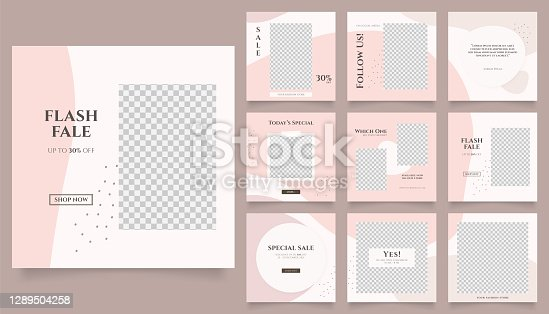 istock social media feed template banner fashion sale promotion. fully editable square post frame puzzle organic sale poster. vector background 1289504258