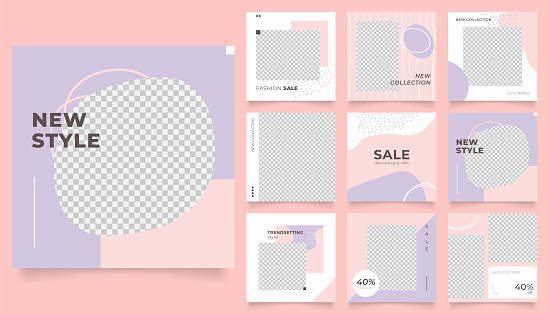 social media feed template banner fashion sale promotion. fully editable square post frame puzzle organic sale poster. vector background
