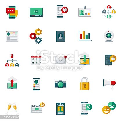 A set of 25 social media flat design icons on a transparent background. File is built in the CMYK color space for optimal printing. Color swatches are Global for quick and easy color changes.