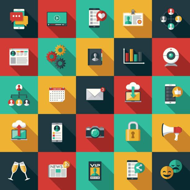 social-media-flaches design-icon-set mit seite schatten - flat design stock-grafiken, -clipart, -cartoons und -symbole