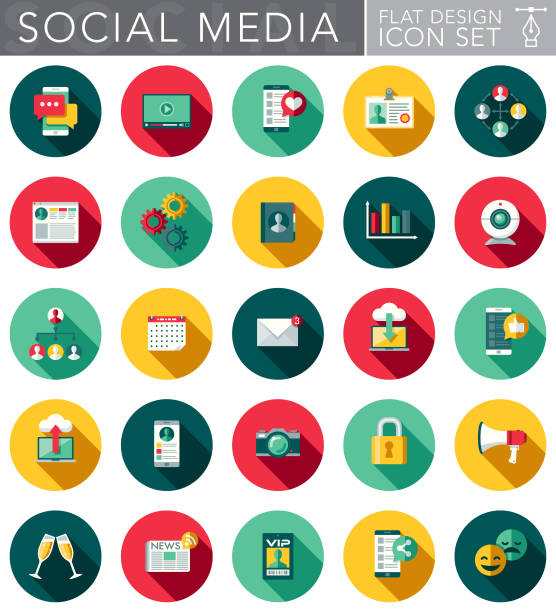 Social Media Flat Design Icon Set with Side Shadow vector art illustration