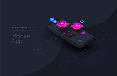 Social media for mobile applications. Web page created from separate blocks. User experience, user interface. Layouts of the mobile application by layers. Modern vector illustration isometric style