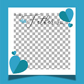 istock Social media frame for father's day. Blue heart shapes and blue background. 1314982551