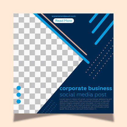 Social media frame post template for corporate business. Pink background and geometric shapes.