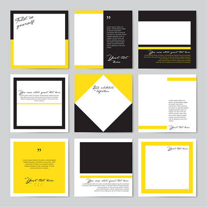Social media frame template - Black and yellow colors.