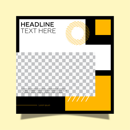 Social media frame template. Geometric shapes and yellow background.