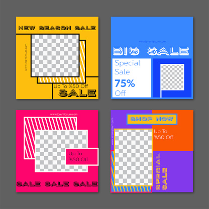 Social media frame template - Sale concept and neon colors.