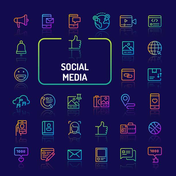 ilustrações de stock, clip art, desenhos animados e ícones de social media gradient line icon set (eps 10) - video call