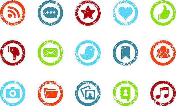 stockillustraties, clipart, cartoons en iconen met social media - grunge icons - geërodeerd