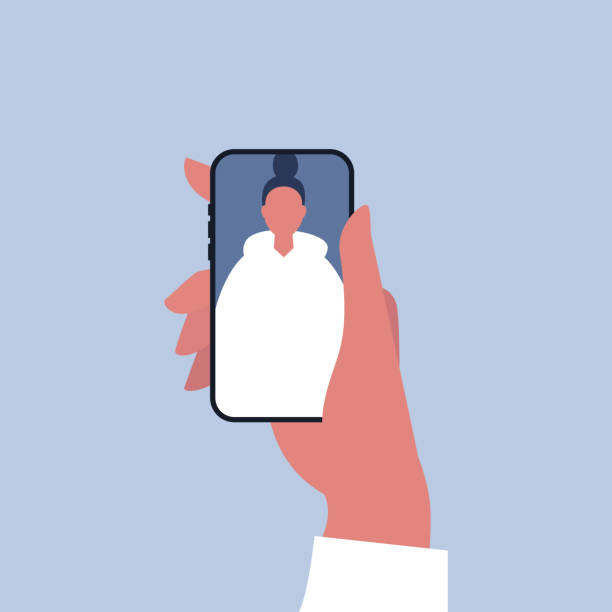 media społecznościowe. trzymając smartfon. obraz młodej kobiecej postaci na mobilnym wyświetlaczu - ręka człowieka stock illustrations