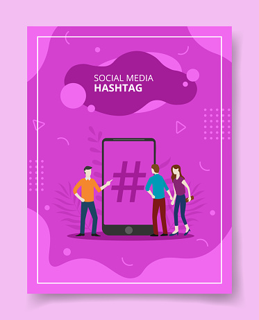 Social media hashtag people standing front smartphone for template of banners, flyer, books cover, magazines with liquid shape style