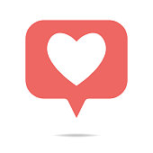 Vector illustration of a social media heart shape inside a speech bubble
