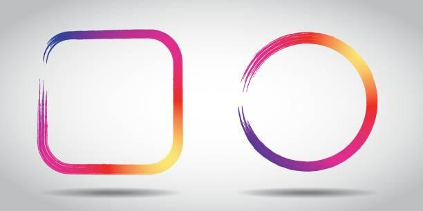 gradient kolorów ikony mediów społecznościowych. kolor ikony - instagram stock illustrations