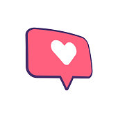 Vector illustration of a social media icon on a colorful speech bubble, perfect for social media projects and design ideas and concepts.