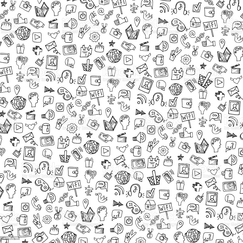 Social Media Icon PatternbackgroundDoodle Sketchy Notepaper Royalty Free