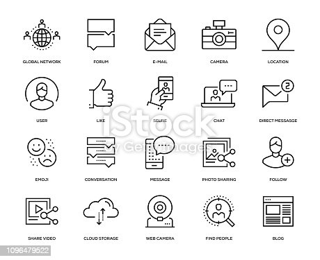 Social Media Icon Set - Thin Line Series