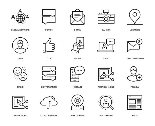 social media icon set - virtual meeting stock illustrations