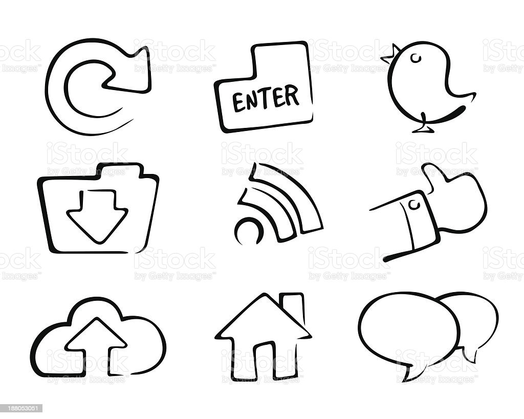 Social Media Icon Set royalty-free social media icon set stock vector art & more images of black and white