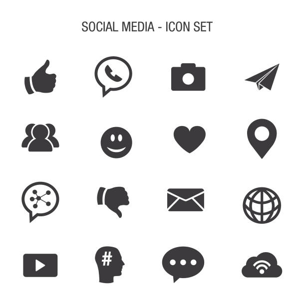 soziale set icon - social media icons stock-grafiken, -clipart, -cartoons und -symbole