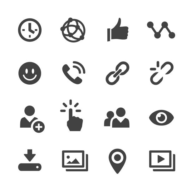 ilustraciones, imágenes clip art, dibujos animados e iconos de stock de social media icons-serie acme - phone